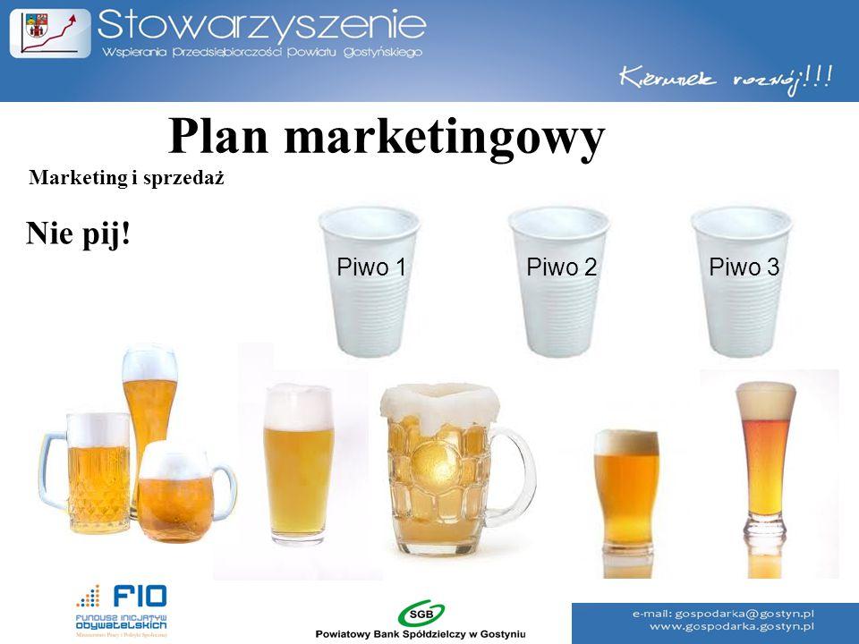 Plan marketingowy Marketing i sprzedaż Nie pij! Piwo 1 Piwo 2 Piwo 3
