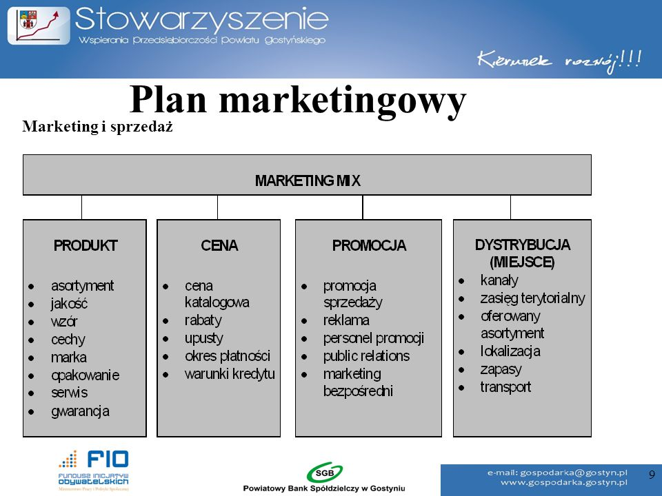 Plan marketingowy Marketing i sprzedaż 9