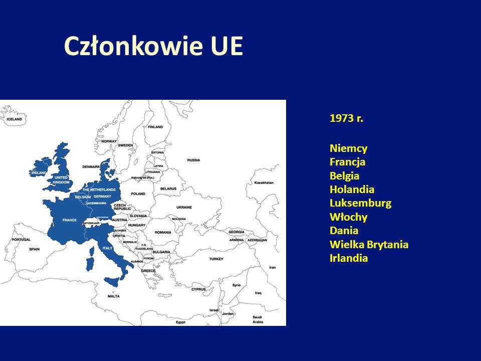 Członkowie UE 1973 r. Niemcy Francja Belgia Holandia Luksemburg Włochy
