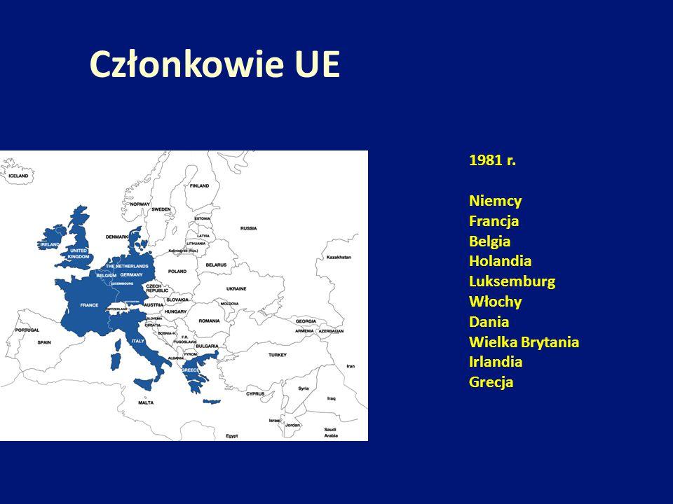Członkowie UE 1981 r. Niemcy Francja Belgia Holandia Luksemburg Włochy