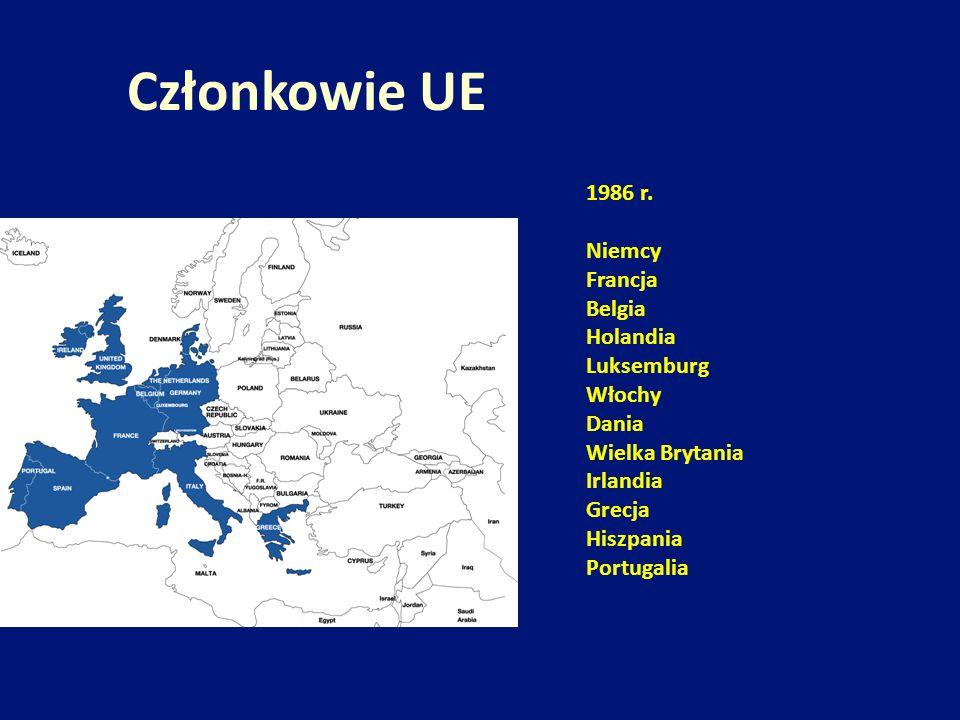 Członkowie UE 1986 r. Niemcy Francja Belgia Holandia Luksemburg Włochy