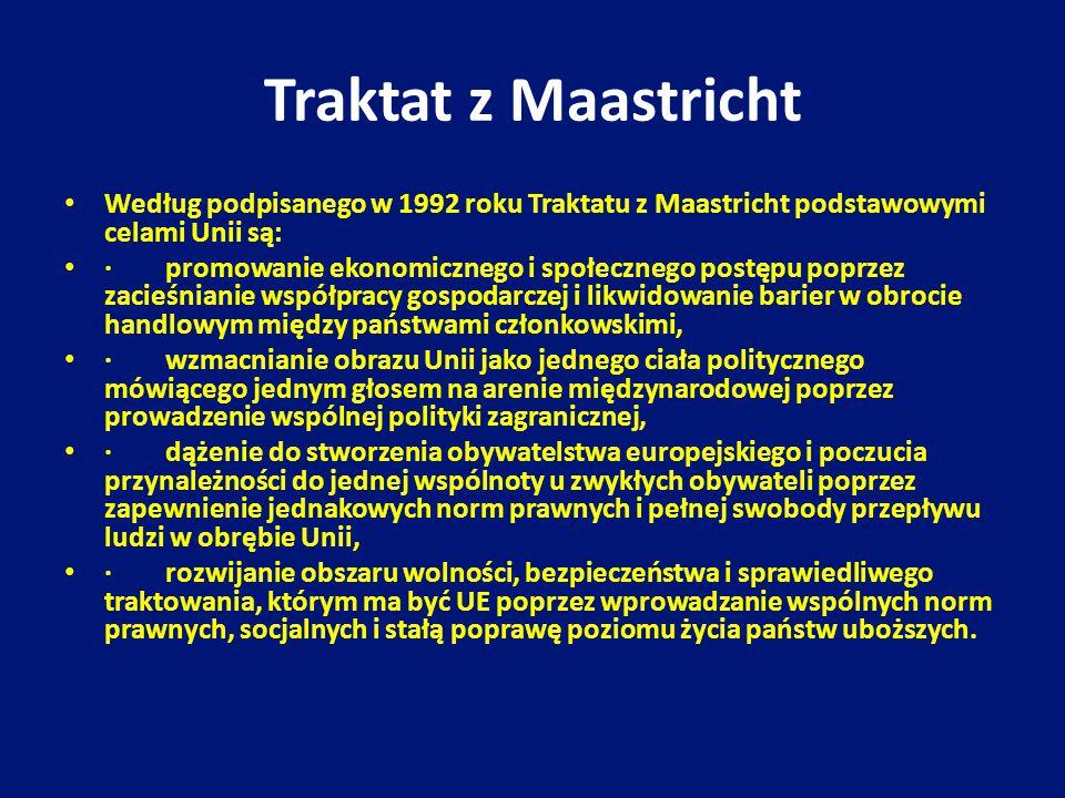 Traktat z Maastricht Według podpisanego w 1992 roku Traktatu z Maastricht podstawowymi celami Unii są: