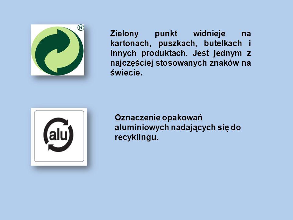 Zielony punkt widnieje na kartonach, puszkach, butelkach i innych produktach. Jest jednym z najczęściej stosowanych znaków na świecie.