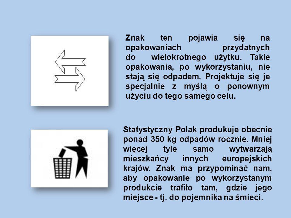 Znak ten pojawia się na opakowaniach przydatnych do wielokrotnego użytku. Takie opakowania, po wykorzystaniu, nie stają się odpadem. Projektuje się je specjalnie z myślą o ponownym użyciu do tego samego celu.