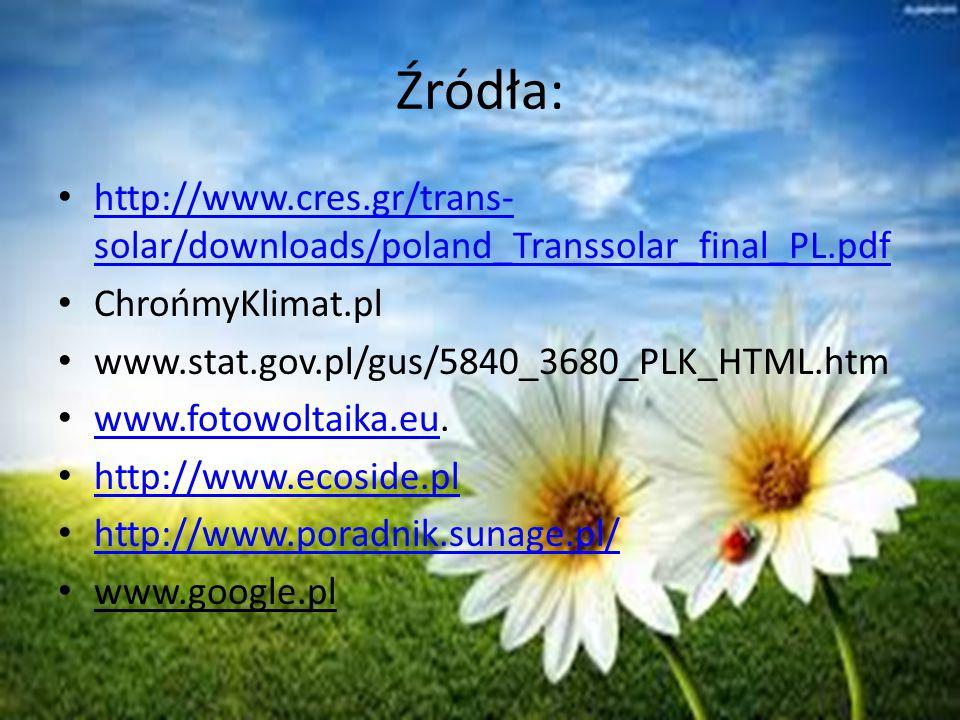 Źródła: http://www.cres.gr/trans-solar/downloads/poland_Transsolar_final_PL.pdf. ChrońmyKlimat.pl.