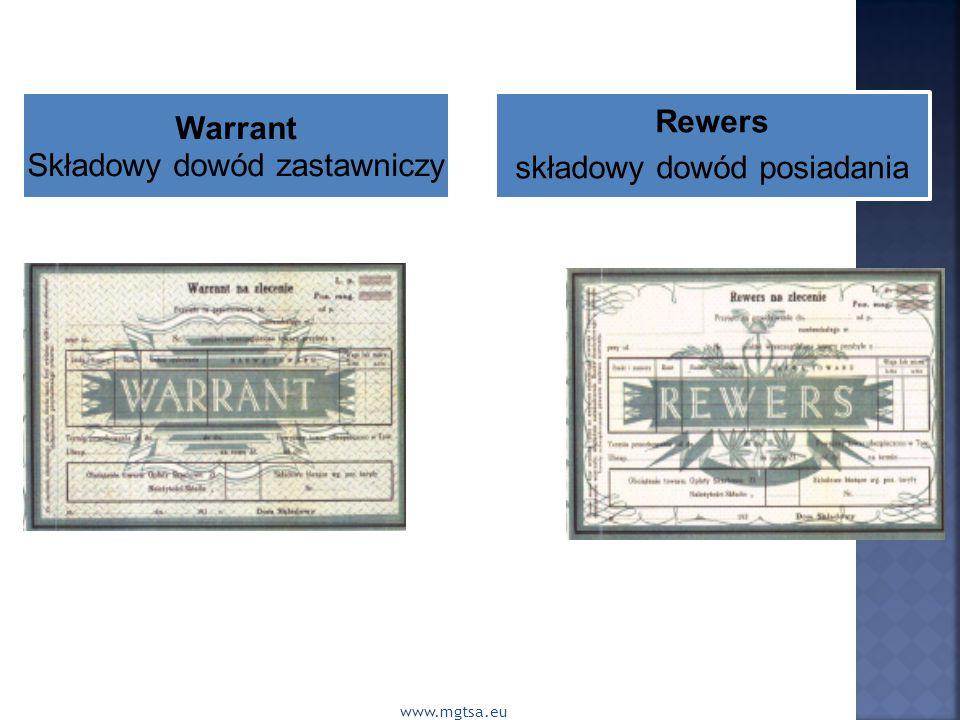 Składowy dowód zastawniczy Rewers składowy dowód posiadania