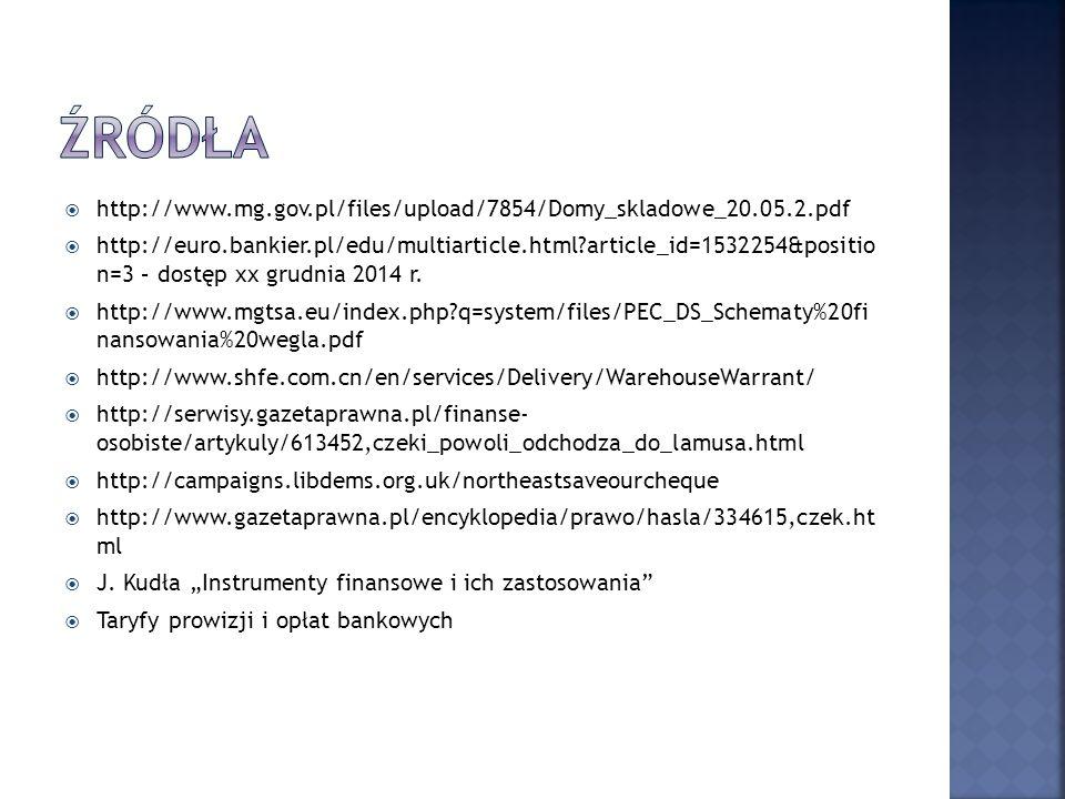 Źródła http://www.mg.gov.pl/files/upload/7854/Domy_skladowe_20.05.2.pdf.