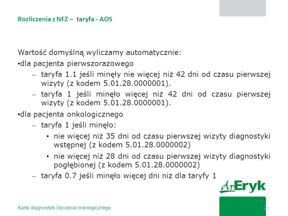 Rozliczenia z NFZ – taryfa - AOS