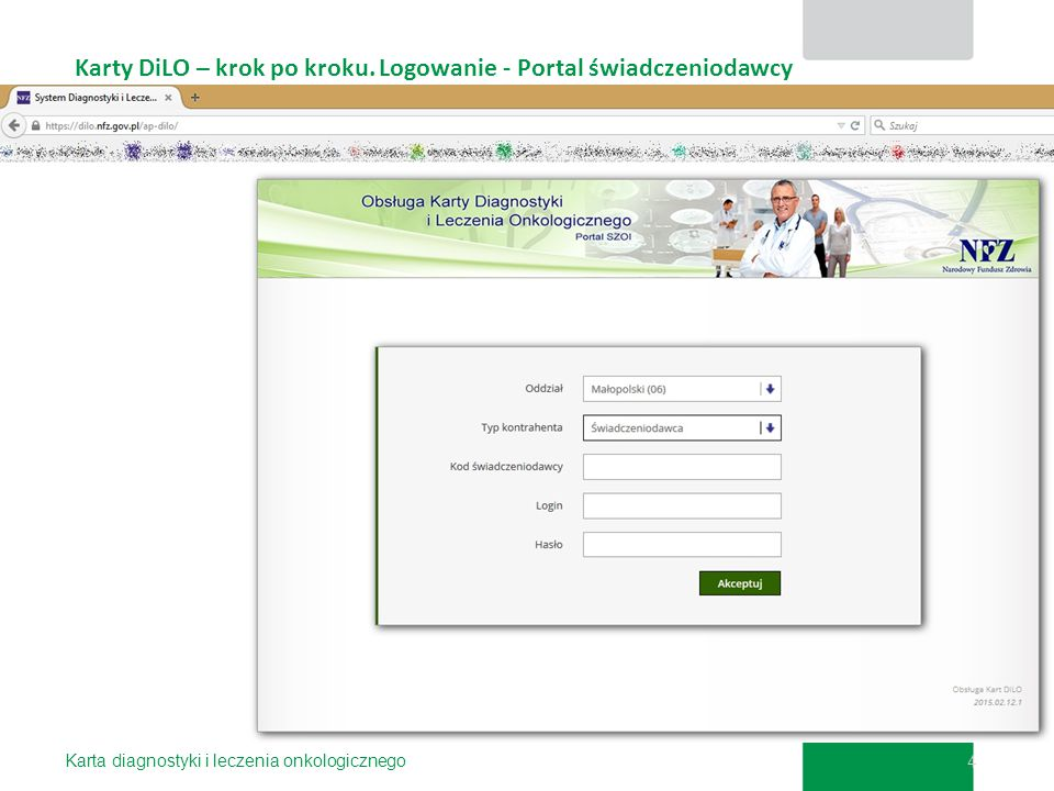 Karty DiLO – krok po kroku. Logowanie - Portal świadczeniodawcy