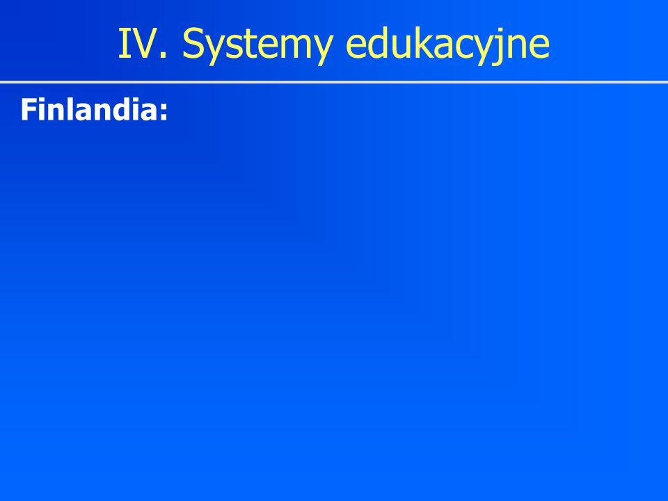 IV. Systemy edukacyjne Finlandia: