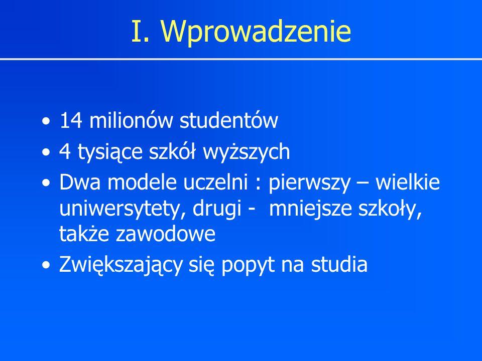 I. Wprowadzenie 14 milionów studentów 4 tysiące szkół wyższych