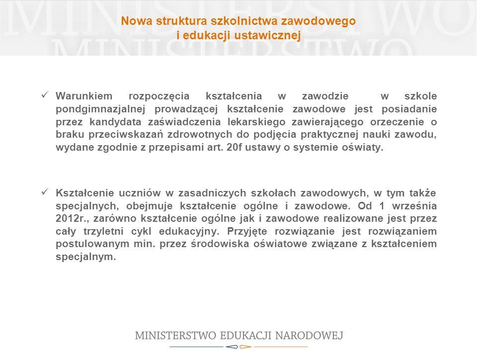 Nowa struktura szkolnictwa zawodowego i edukacji ustawicznej