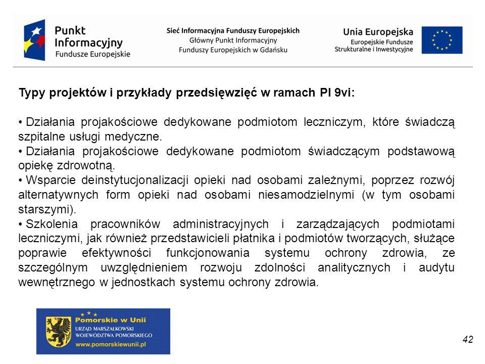 Typy projektów i przykłady przedsięwzięć w ramach PI 9vi: