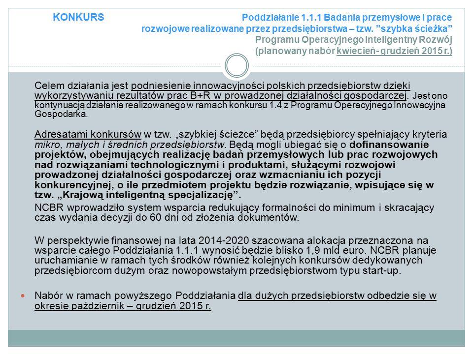 KONKURS Poddziałanie 1.1.1 Badania przemysłowe i prace rozwojowe realizowane przez przedsiębiorstwa – tzw. szybka ścieżka Programu Operacyjnego Inteligentny Rozwój (planowany nabór kwiecień- grudzień 2015 r.)