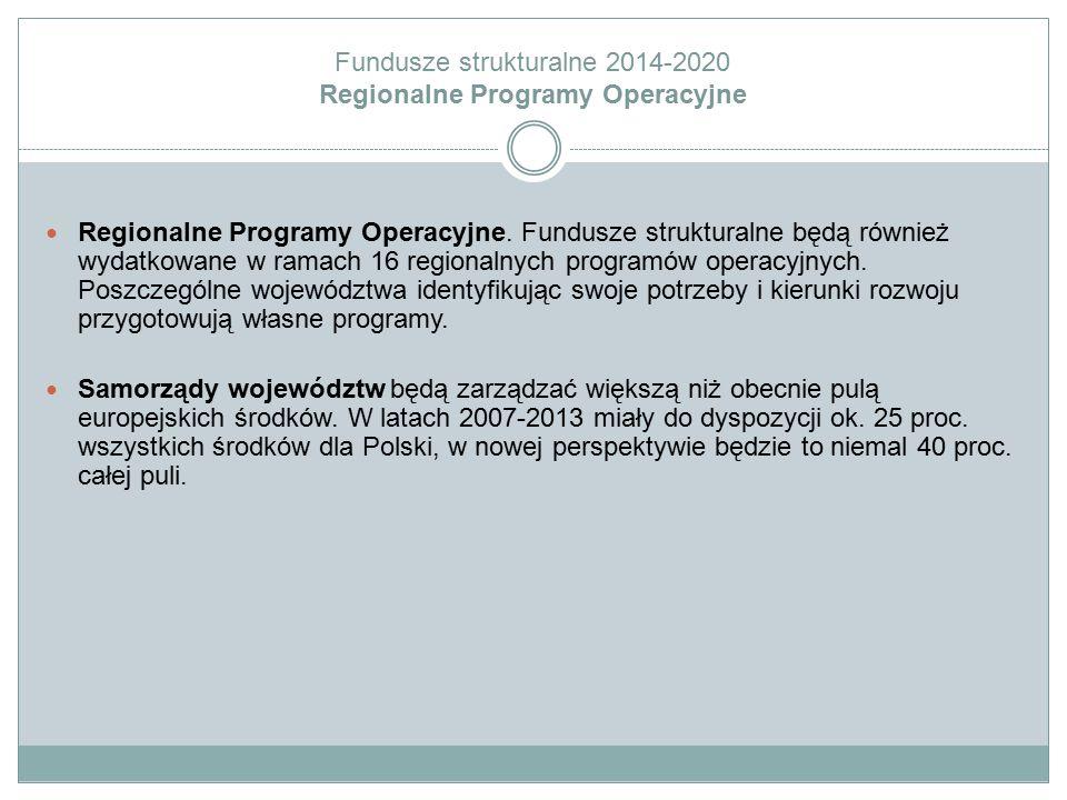 Fundusze strukturalne 2014-2020 Regionalne Programy Operacyjne