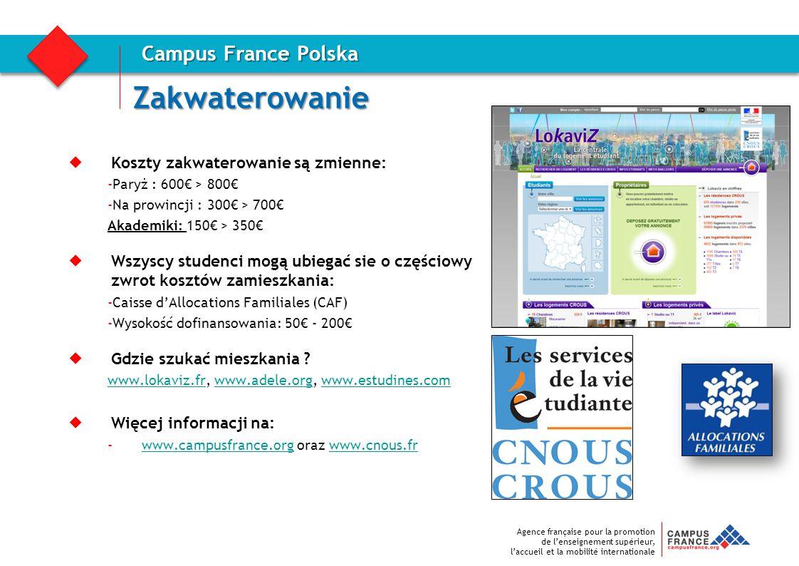 Zakwaterowanie Campus France Polska Koszty zakwaterowanie są zmienne: