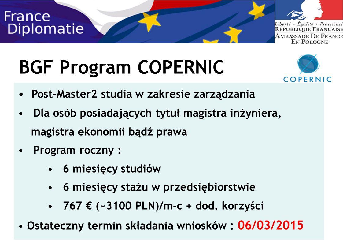 BGF Program COPERNIC Post-Master2 studia w zakresie zarządzania