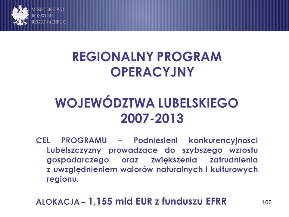 REGIONALNY PROGRAM OPERACYJNY WOJEWÓDZTWA LUBELSKIEGO 2007-2013