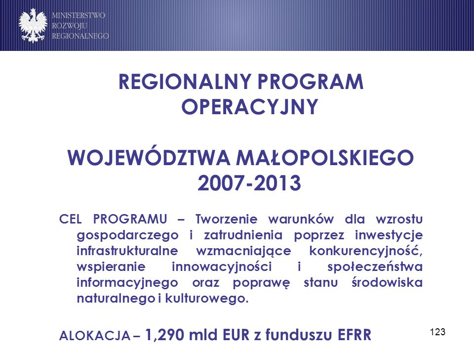 REGIONALNY PROGRAM OPERACYJNY WOJEWÓDZTWA MAŁOPOLSKIEGO 2007-2013