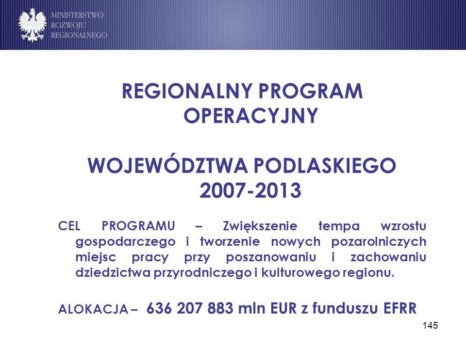 REGIONALNY PROGRAM OPERACYJNY WOJEWÓDZTWA PODLASKIEGO 2007-2013