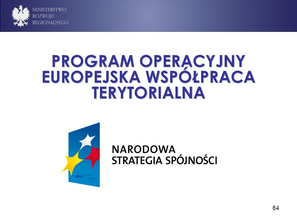 PROGRAM OPERACYJNY EUROPEJSKA WSPÓŁPRACA TERYTORIALNA