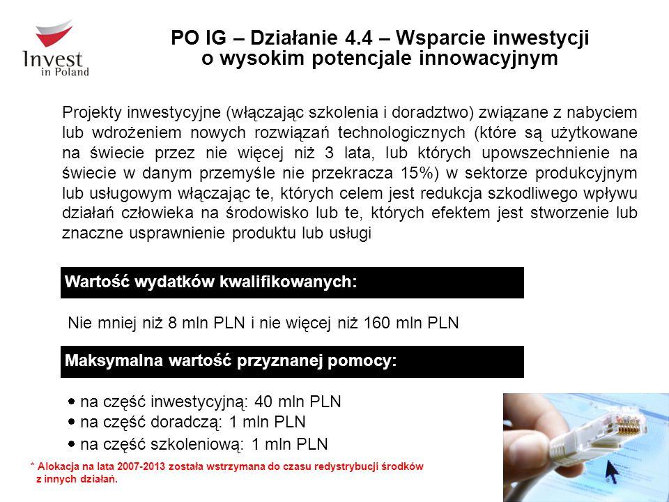 PO IG – Działanie 4.4 – Wsparcie inwestycji o wysokim potencjale innowacyjnym