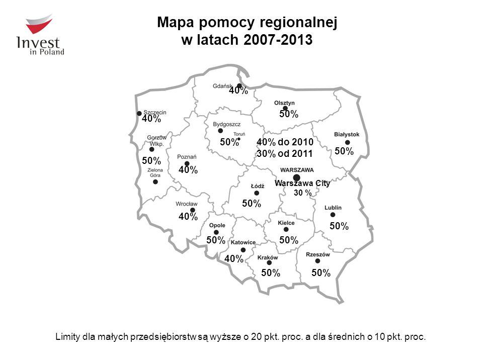Mapa pomocy regionalnej w latach 2007-2013