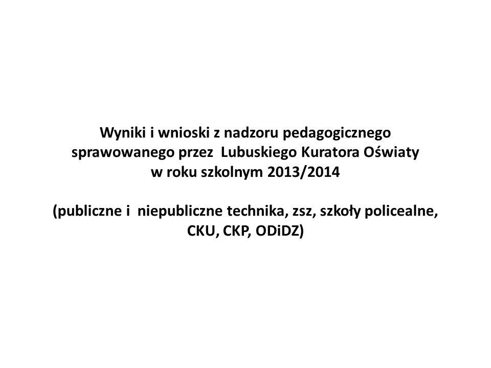 Wyniki i wnioski z nadzoru pedagogicznego sprawowanego przez Lubuskiego Kuratora Oświaty w roku szkolnym 2013/2014 (publiczne i niepubliczne technika, zsz, szkoły policealne, CKU, CKP, ODiDZ)