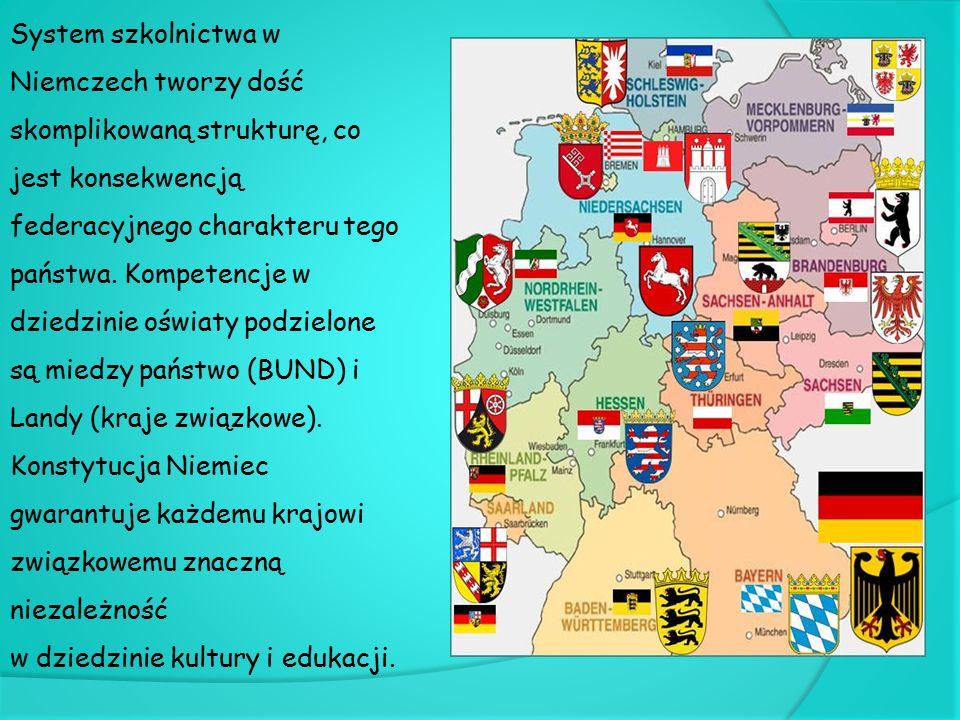 System szkolnictwa w Niemczech tworzy dość skomplikowaną strukturę, co jest konsekwencją federacyjnego charakteru tego państwa. Kompetencje w dziedzinie oświaty podzielone są miedzy państwo (BUND) i Landy (kraje związkowe). Konstytucja Niemiec gwarantuje każdemu krajowi związkowemu znaczną niezależność