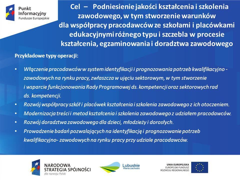 Cel – Podniesienie jakości kształcenia i szkolenia zawodowego, w tym stworzenie warunków dla współpracy pracodawców ze szkołami i placówkami edukacyjnymi różnego typu i szczebla w procesie kształcenia, egzaminowania i doradztwa zawodowego