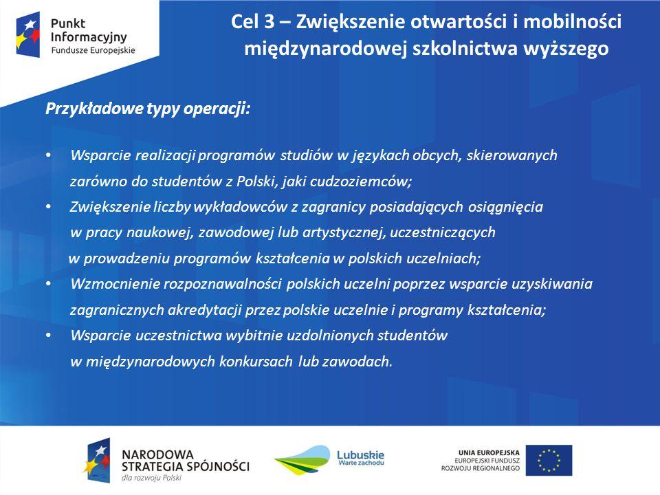 Cel 3 – Zwiększenie otwartości i mobilności międzynarodowej szkolnictwa wyższego