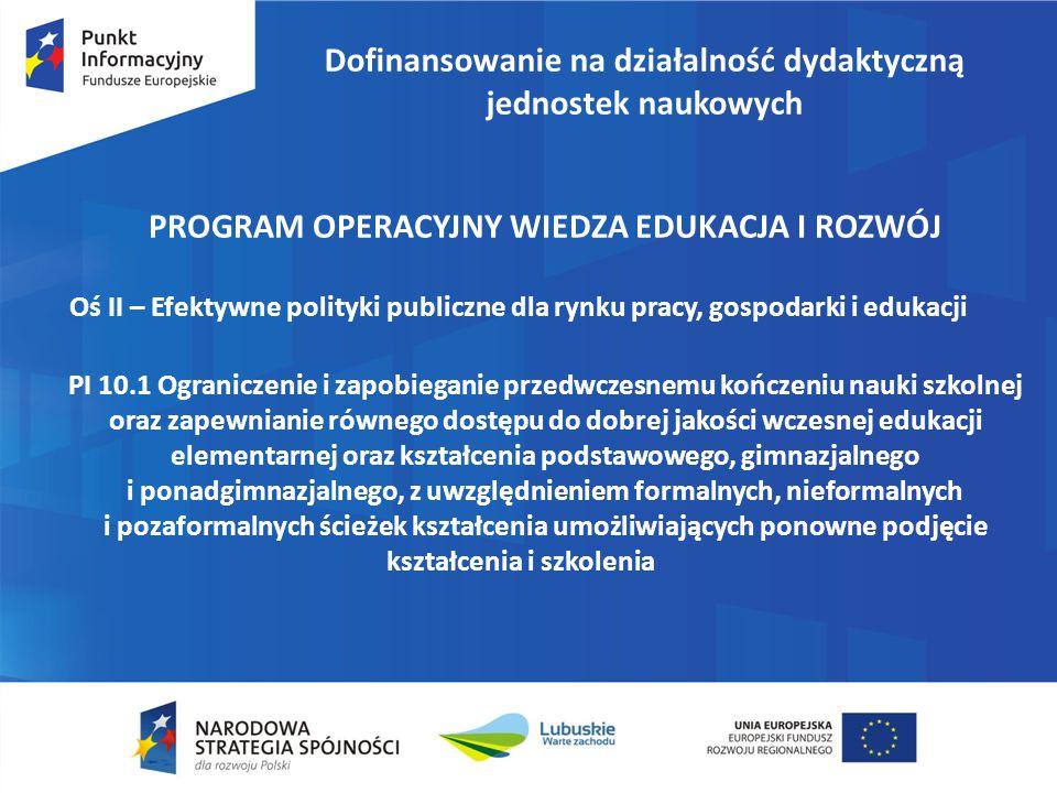 Dofinansowanie na działalność dydaktyczną jednostek naukowych
