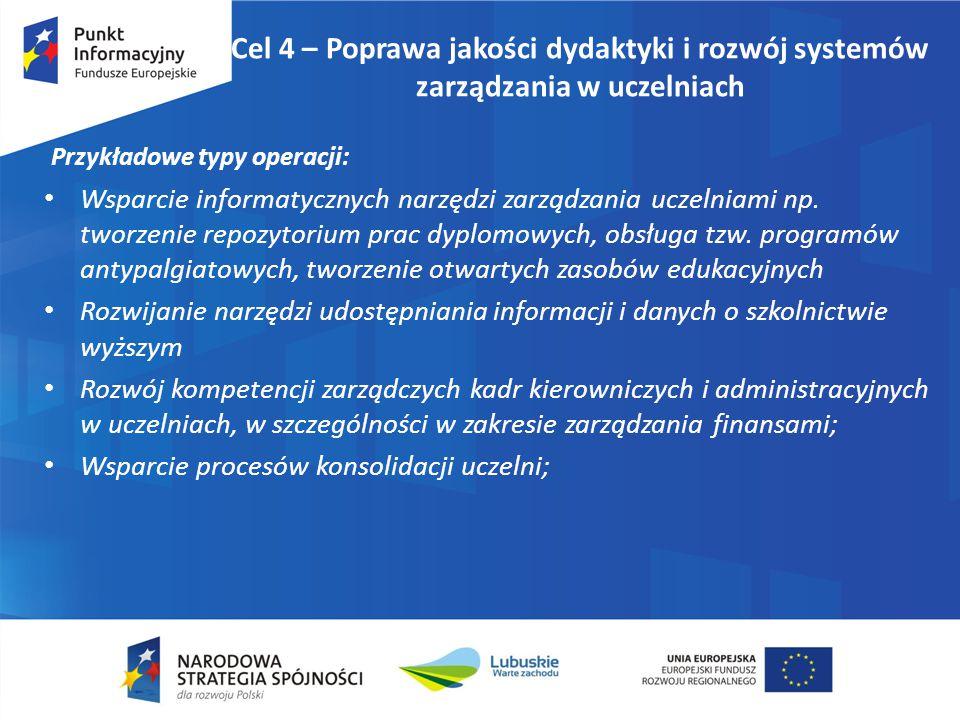 Cel 4 – Poprawa jakości dydaktyki i rozwój systemów zarządzania w uczelniach