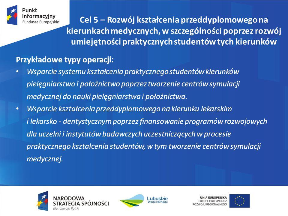 Cel 5 – Rozwój kształcenia przeddyplomowego na kierunkach medycznych, w szczególności poprzez rozwój umiejętności praktycznych studentów tych kierunków