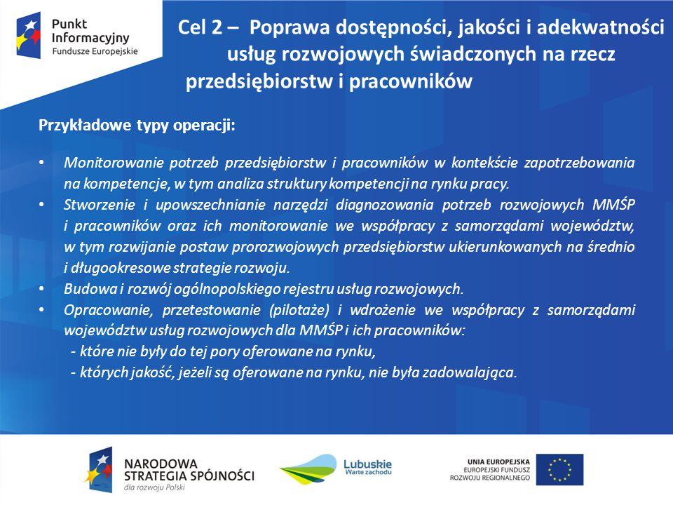 Cel 2 – Poprawa dostępności, jakości i adekwatności usług rozwojowych świadczonych na rzecz przedsiębiorstw i pracowników