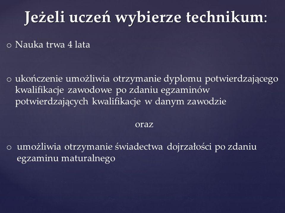 Jeżeli uczeń wybierze technikum: