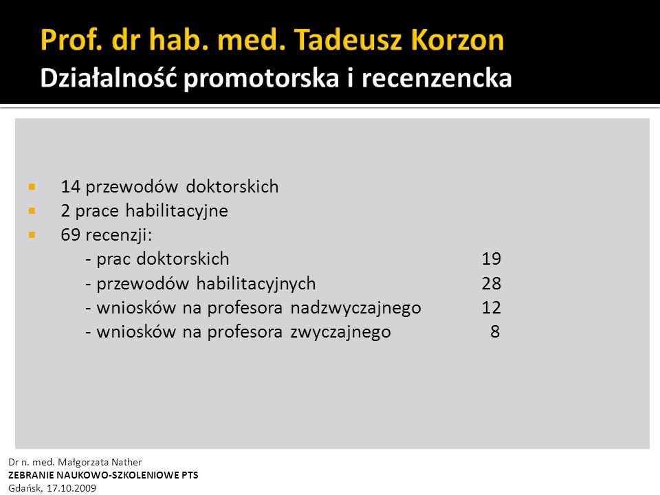 Prof. dr hab. med. Tadeusz Korzon Działalność promotorska i recenzencka