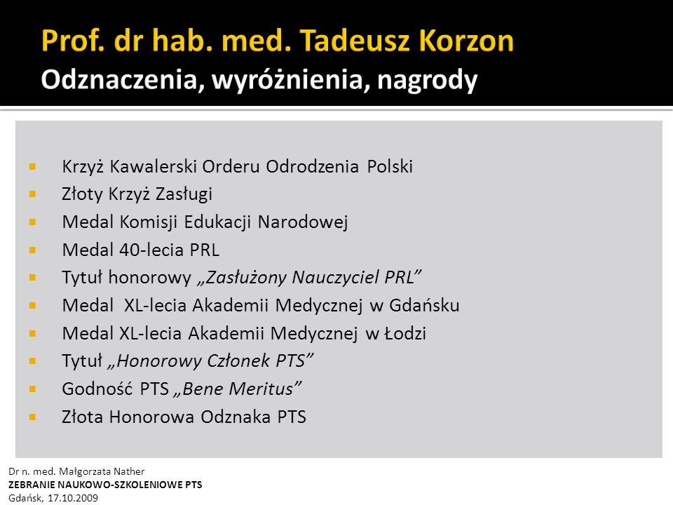 Prof. dr hab. med. Tadeusz Korzon Odznaczenia, wyróżnienia, nagrody