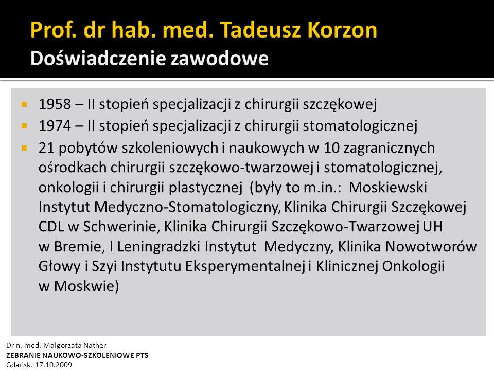 Prof. dr hab. med. Tadeusz Korzon Doświadczenie zawodowe
