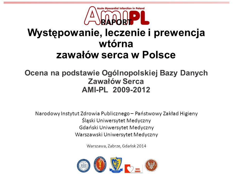RAPORT Występowanie, leczenie i prewencja wtórna zawałów serca w Polsce Ocena na podstawie Ogólnopolskiej Bazy Danych Zawałów Serca AMI-PL 2009-2012