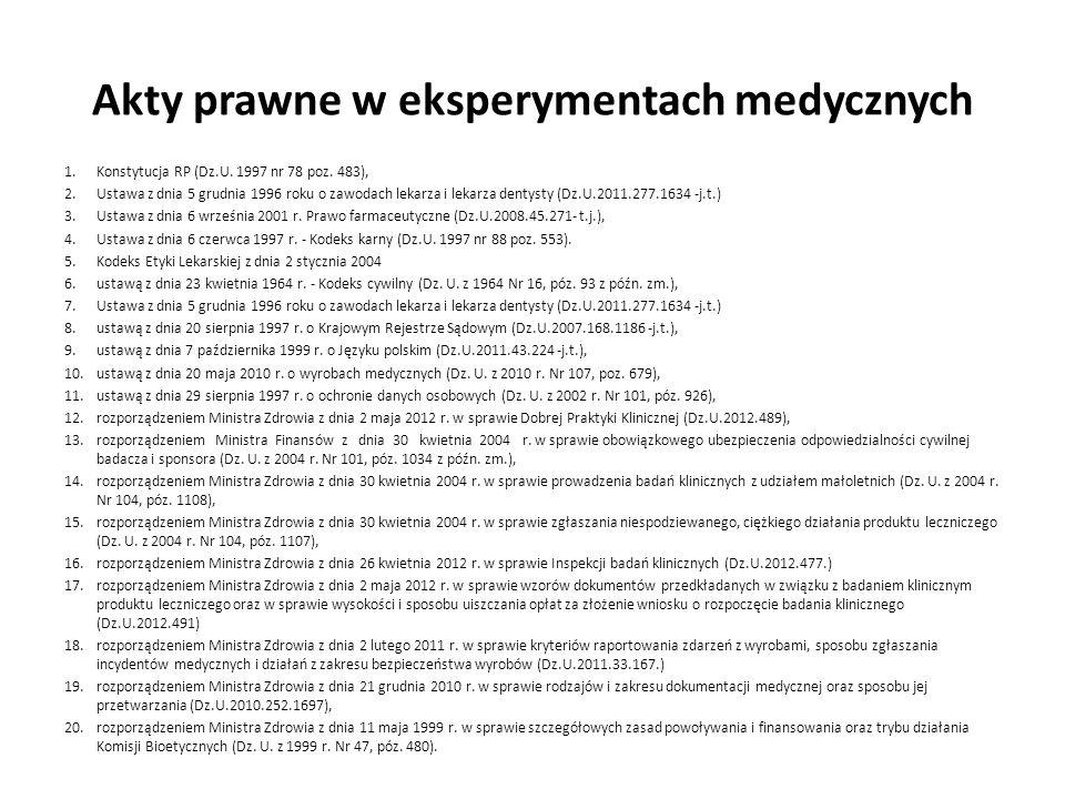Akty prawne w eksperymentach medycznych