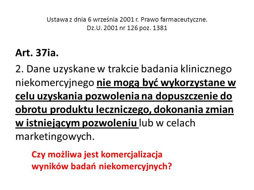 Ustawa z dnia 6 września 2001 r. Prawo farmaceutyczne. Dz. U