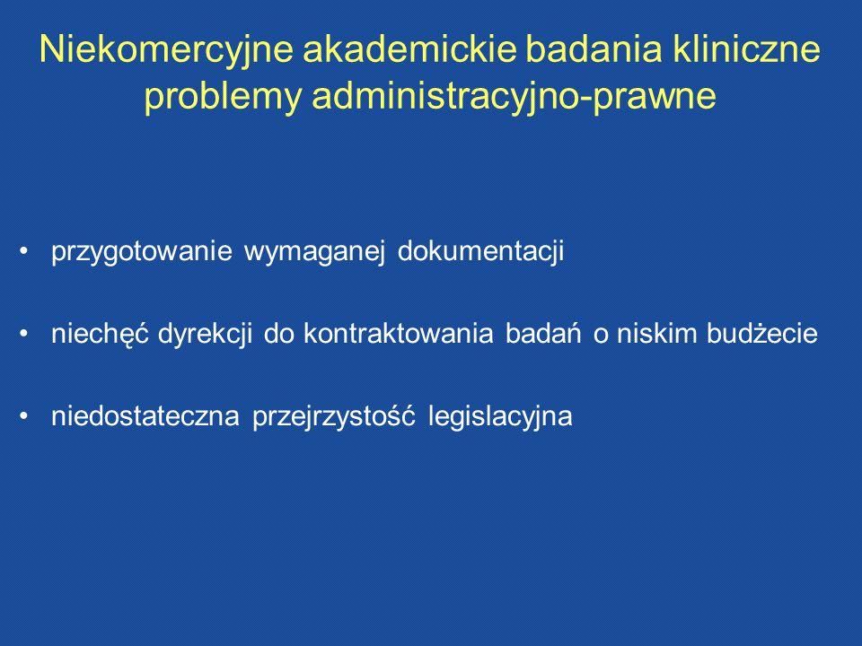 Niekomercyjne akademickie badania kliniczne problemy administracyjno-prawne