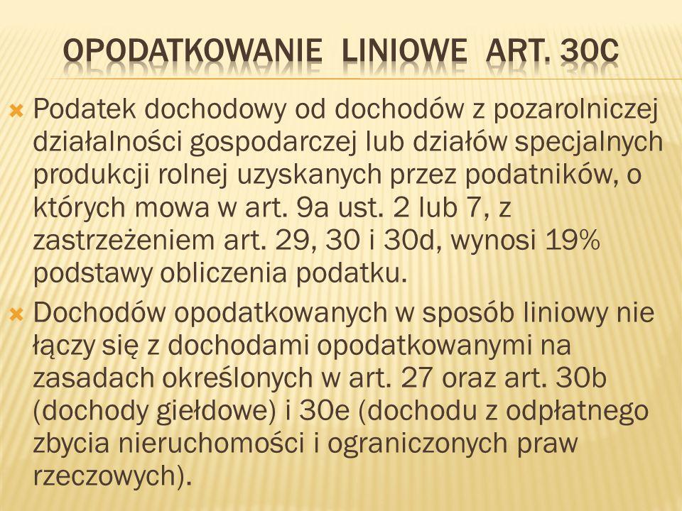 Opodatkowanie liniowe art. 30c