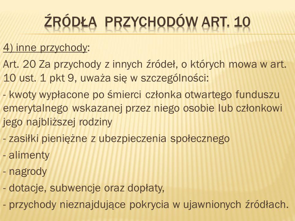 Źródła przychodów Art. 10
