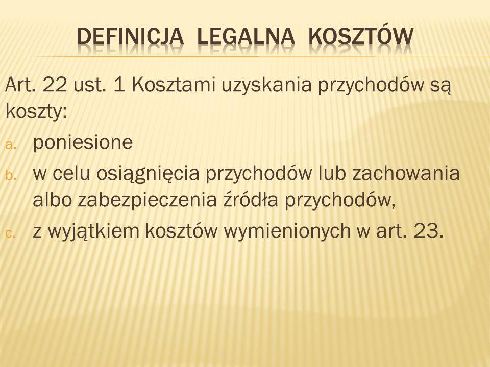 Definicja legalna kosztów