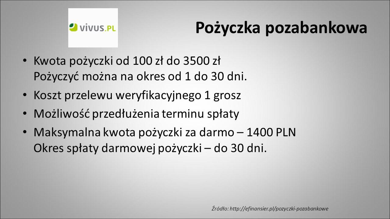 Pożyczka pozabankowa Kwota pożyczki od 100 zł do 3500 zł Pożyczyć można na okres od 1 do 30 dni. Koszt przelewu weryfikacyjnego 1 grosz.