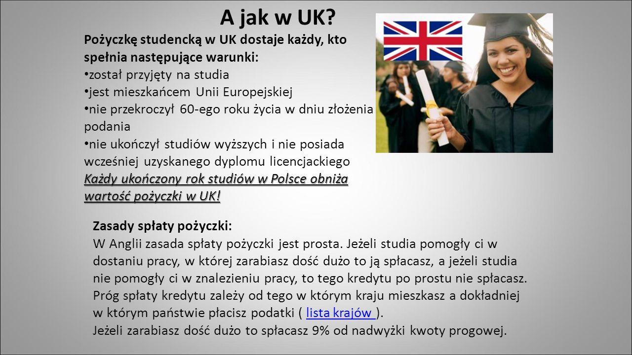 A jak w UK Pożyczkę studencką w UK dostaje każdy, kto spełnia następujące warunki: został przyjęty na studia.