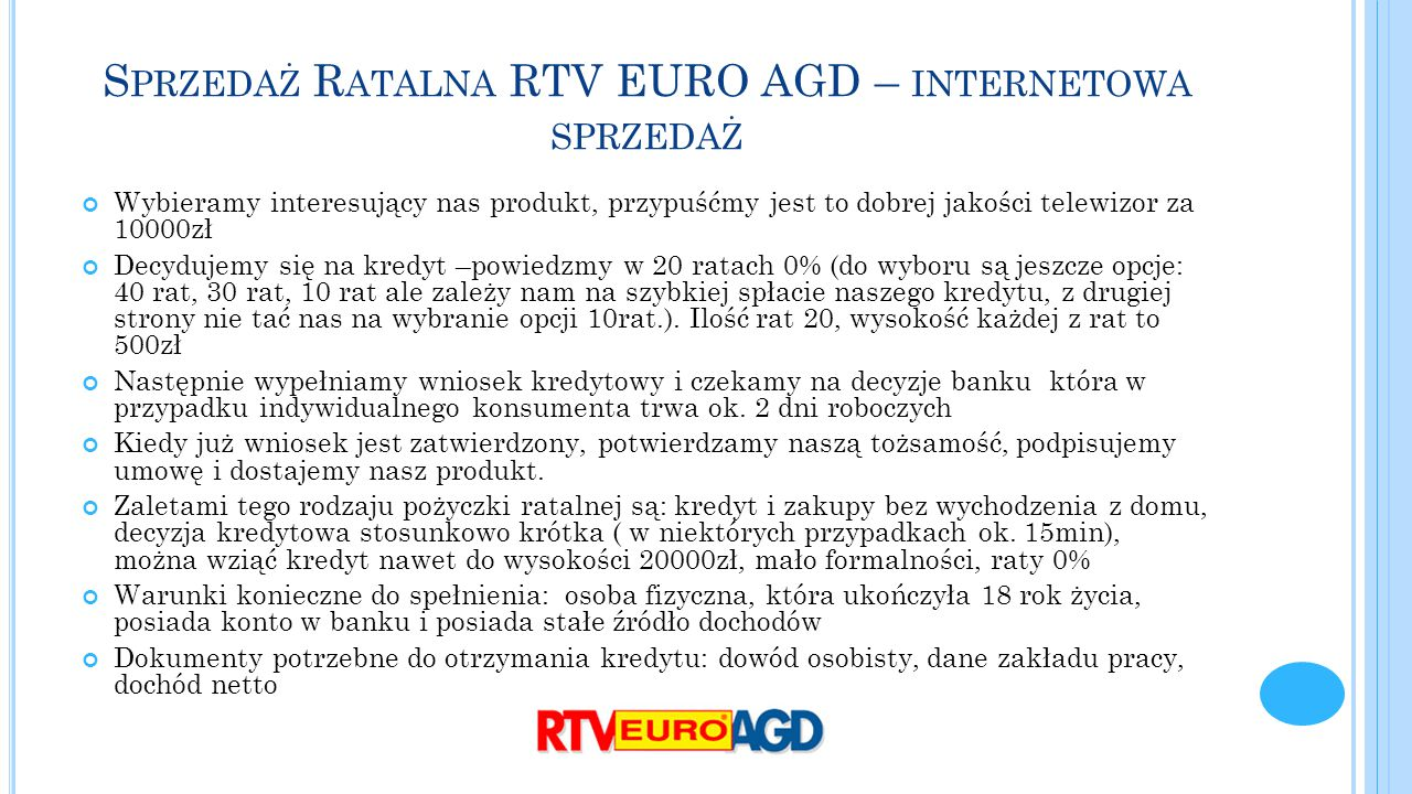 Sprzedaż Ratalna RTV EURO AGD – internetowa sprzedaż