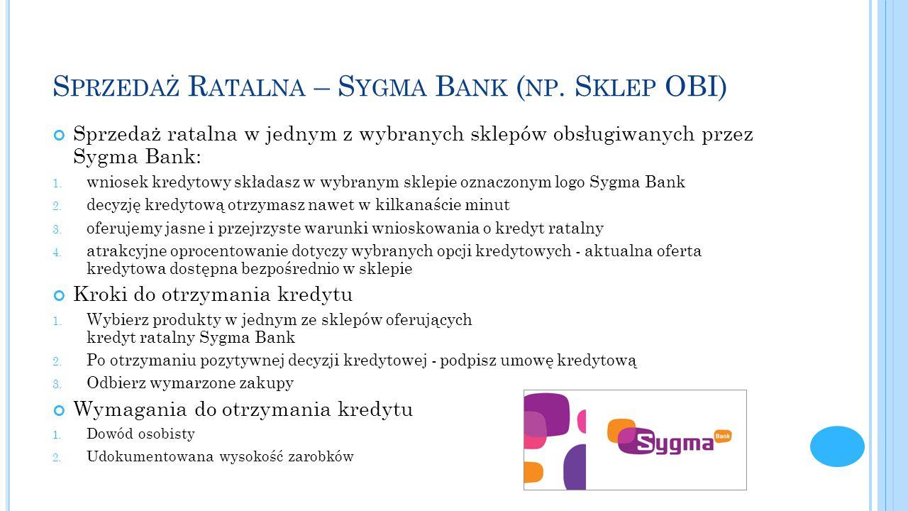 Sprzedaż Ratalna – Sygma Bank (np. Sklep OBI)